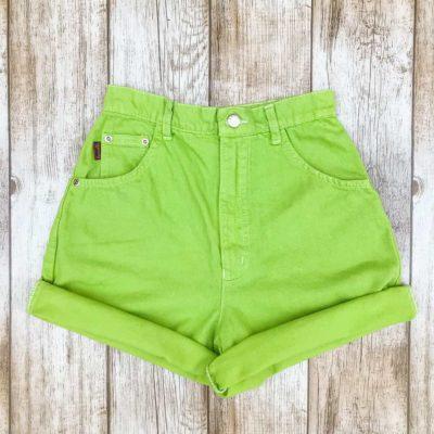 Vintage Lime Green Denim Shorts