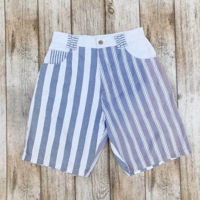 Vintage Light Blue Striped Denim Shorts