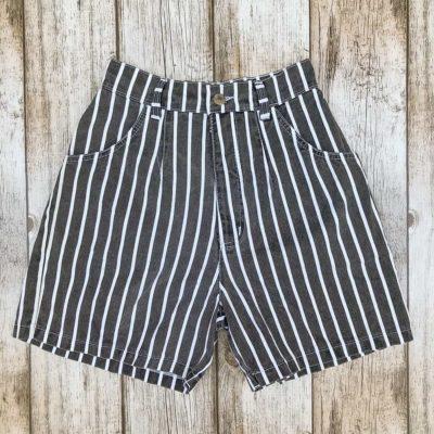 Vintage Black Striped Shorts