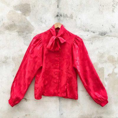 Vintage Rose Patterned Red Satin Shirt
