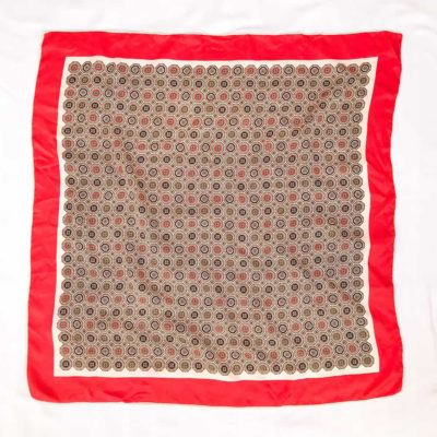 Vintage Abstract Patterned Scarf with Red Border