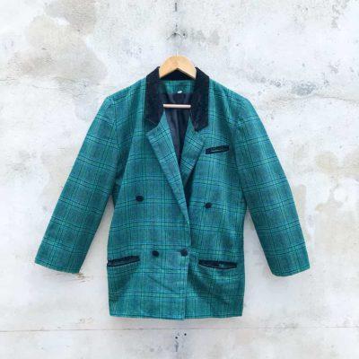 Vintage Green Plaid Blazer with Velvet Collar