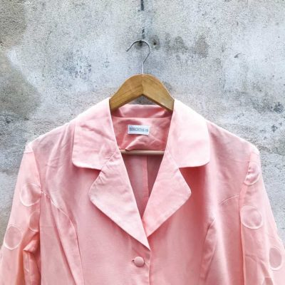 Vintage Light Pink Blazer with Sheer Arms