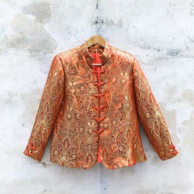 Vintage Orange Decorative Patterned Blazer