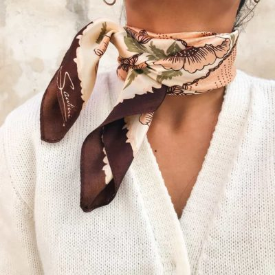 Vintage Brown Floral Patterned Scarf