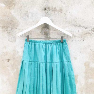 Vintage Teal Pleated Midi Skirt