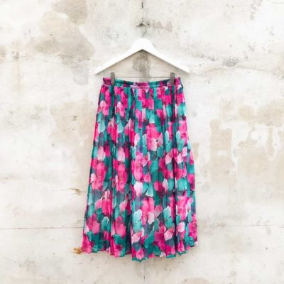 Vintage Pink & Green Floral Skirt