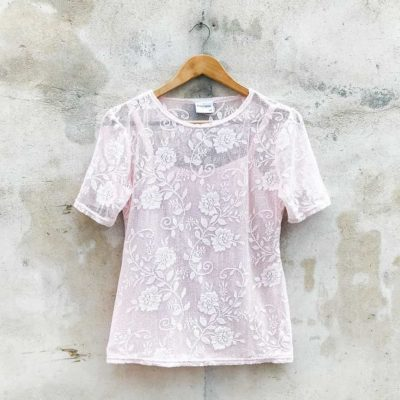 Vintage Baby Pink Lace Top