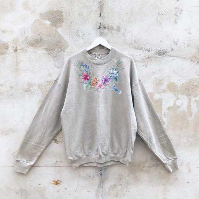 Vintage Light Brown Floral Hummingbird Sweatshirt