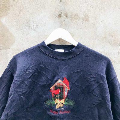Vintage Navy Happy Holidays Sweatshirt