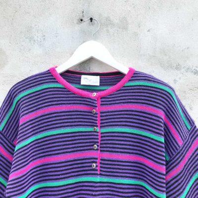 Vintage Purple, Teal & Pink Striped Jersey
