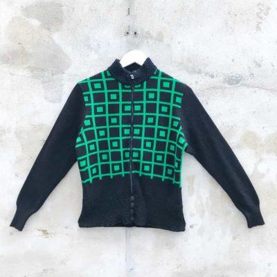 Vintage Black & Green Patterned Zip Up Knit