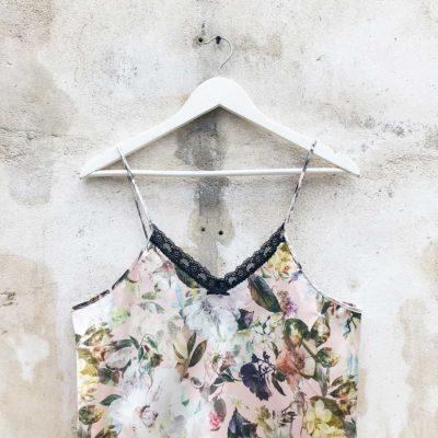 Vintage Floral Satin Slip Dress