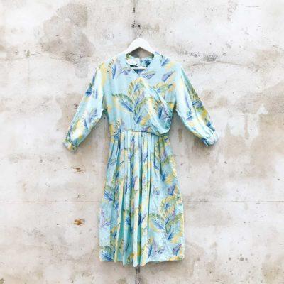 Vintage Blue Feather Patterned Dress