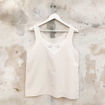 Vintage Cream Top with Front Detail