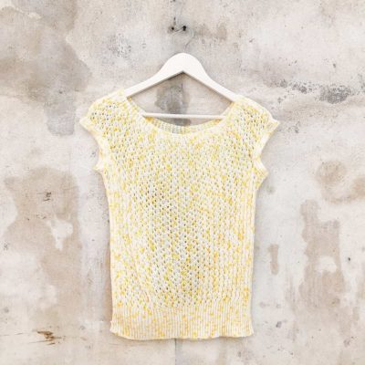 Vintage Yellow Speckled Knitted Top